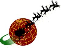 Santa Around the World. Santa and his reigndeer fly around a red globe Stock Image