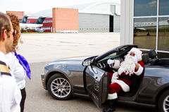 Santa arrives. In convertible for flight Royalty Free Stock Image