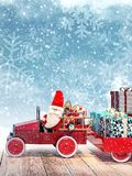 Santa arriving from sky with car full of Christmas presents. 3D Rendering Stock Image
