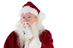 Santa asking for quiet to camera Stock Photography