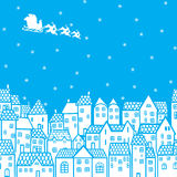 Santa au-dessus de la ville illustration libre de droits