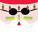 Santa in Australia. Square Santa Claus face with zinc,cork hat and sunglasses Royalty Free Stock Image