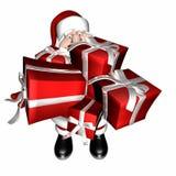 Santa avec des bras pleins des cadeaux Image libre de droits