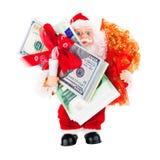 Santa avec des cadeaux d'argent Photographie stock