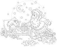 Santa avec des cadeaux pour un enfant Photos libres de droits