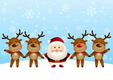 Santa avec des cerfs communs Image libre de droits