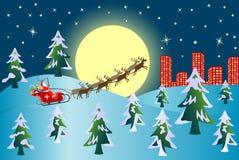 Santa avec des rennes Photos libres de droits
