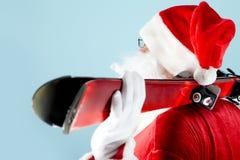 Santa avec des skis Photo libre de droits