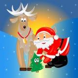 Santa avec l'arbre de Noël. carte de Noël. Photo stock