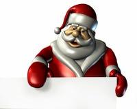 Santa avec le bord d'un signe blanc - avec le chemin de découpage Photos stock