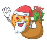 Santa avec le style de bande dessinée de mascotte de pizza de cadeau illustration de vecteur