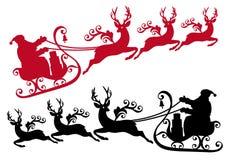 Santa avec le traîneau et renne,   Photo libre de droits