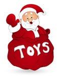 Santa avec Toy Bag - illustration de vecteur de Noël Image stock