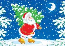 Santa avec un arbre de Noël Image libre de droits