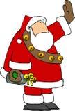Santa avec un cadeau de vin illustration stock