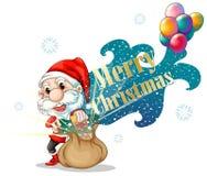 Santa avec un sac brun plein des cadeaux Photo stock