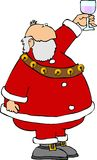 Santa avec une glace de vin illustration libre de droits