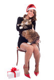 Santa Babe With Maine Coon Cat Royalty Free Stock Photography