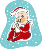 Santa baby. Drawing of little baby in santa's costume Royalty Free Stock Photo