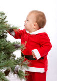 Santa Baby boy standing next to Christmas tree. Studio shoot on white background Royalty Free Stock Photography