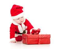 Santa baby with gift box Stock Photo