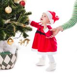 Santa baby girl stock photo