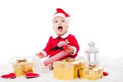Santa baby girl stock image