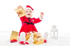 Santa baby girl royalty free stock photos