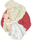 Santa and Baby Jesus Royalty Free Stock Photo