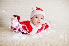 Santa baby and ligths royalty free stock photos