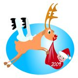 Santa baby and reindeer. A reindeer transporting newborn santa baby vector illustration stock illustration