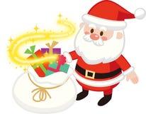 Santa Back de brilho e Santa Claus bonito Presente do Natal Projeto liso, ilustração do vetor, personagem de banda desenhada ilustração stock