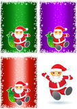 Santa background set. Santa Claus on the colorful backgrounds Stock Photo