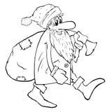 Santa With Bag Stock Afbeelding