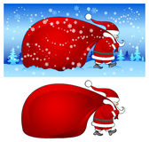 Santa with bag in blue Stock Image