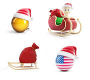 A santa bag, a child on a Santa sled, Santa`s hat  on a white background 3D illustration, 3D rendering Royalty Free Stock Photos