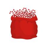 Santa bag of Christmas peppermint lollipop. Christmas sack and m Royalty Free Stock Photo
