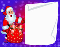 Santa with bag and clean paper for invitation. Illustration santa with bag and clean paper for invitation Stock Photo