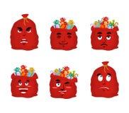 Santa bag Emoji set. Christmas sack with gifts emotion collectio. N. Red sackful of gifts isolated. Good and evil. Cheerful and sad. Sleep and stupid Stock Image