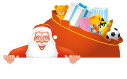 Santa and bag full gifts banner. Santa and gifts bag on a blank sign Stock Images