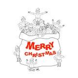 Santa bag with gift and elves. Merry Christmas. Big sack for chi. Ldren presents. Elf Santas helper stock illustration