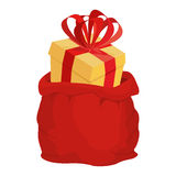 Santa bag with gift. Red big Christmas sack. box with bow.  Royalty Free Stock Photography