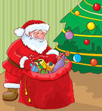 Santa with bag of gifts. Under the Christmas tree vector illustration