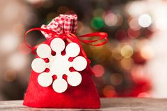 Santa bag with gifts on the background bokeh Royalty Free Stock Photography