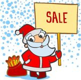 Santa with a bag of gifts and banner. Christmas greeting card with Santa Claus Cartoon Royalty Free Stock Image