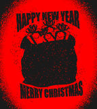 Santa bag with gifts grunge style. big sack for New Year. Spray Stock Images