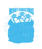 Santa bag with gifts grunge style. big sack for New Year. Spray Royalty Free Stock Image
