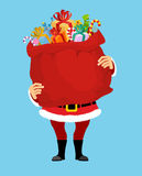 Santa and bag with gifts isolated. Big red sack. Gifts for Chris Stock Image