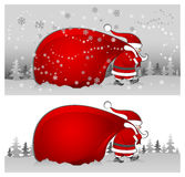 Santa with bag in grey vector illustration