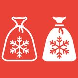 Santa bag line and glyph icon, New year. And Christmas, gift sign vector graphics, a linear pattern on a red background, eps 10 Royalty Free Stock Photo
